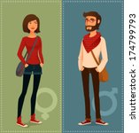 adult,attractive,bag,beard,bearded,beautiful,cartoon,casual,character,clothes,cool,dude,fashion,female,geek