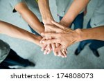 people with their hands... | Shutterstock . vector #174808073