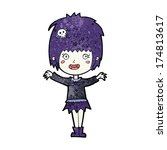 cartoon happy vampire girl | Shutterstock . vector #174813617