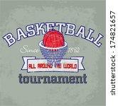 basketball themed t shirt... | Shutterstock . vector #174821657