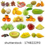 collection of fruit isolated on ... | Shutterstock . vector #174822293