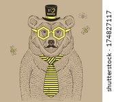 hand drawn illustration of bear ... | Shutterstock .eps vector #174827117