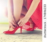 sunlight and red shoes  | Shutterstock . vector #174846233