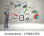 thinking businessman scratching ... | Shutterstock . vector #174861293