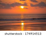 Sunset View At The Beach Of...