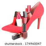 beautiful red female shoes with ... | Shutterstock . vector #174960047