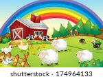 Illustration Of A Farm With...