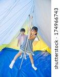 japanese boys and girls smiling ... | Shutterstock . vector #174966743