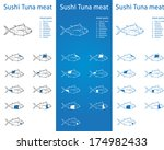sushi tuna meat parts icons for ...   Shutterstock .eps vector #174982433