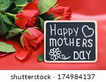 red roses and a blackboard with ... | Shutterstock . vector #174984137