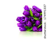 Bouquet Of Purple Tulips On A...