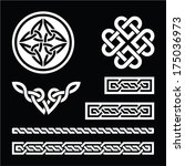 celtic white knots  braids and... | Shutterstock .eps vector #175036973