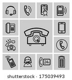 vector black phone icons set | Shutterstock .eps vector #175039493