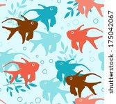vector marine seamless pattern... | Shutterstock .eps vector #175042067