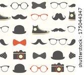 vector seamless hipster... | Shutterstock .eps vector #175044347