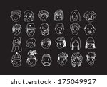 set of various cartoon faces ... | Shutterstock .eps vector #175049927