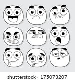 set of smiley faces with big... | Shutterstock .eps vector #175073207