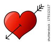 hand drawn heart with arrow | Shutterstock . vector #175112117
