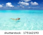 young woman floating on the... | Shutterstock . vector #175162193