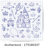 accessories,back,beautiful,beauty,carriage,cartoon,castle,cheerful,collection,crown,cupcake,cute,design,diamond,doodle