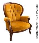 antique orange armchair...