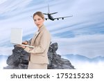 businesswoman with a laptop... | Shutterstock . vector #175215233