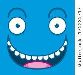 vector cute cartoon blue happy... | Shutterstock .eps vector #175235717