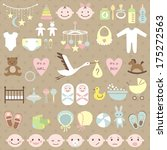 Set of baby shower elements. Vector illustration - stock vector