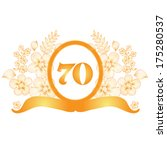 70th anniversary golden floral... | Shutterstock .eps vector #175280537