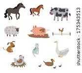 big set of farm animals | Shutterstock .eps vector #175343513