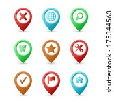 map pins with icons | Shutterstock .eps vector #175344563
