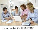 business people meeting around... | Shutterstock . vector #175357433