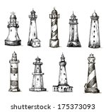 set of cartoon lighthouses.... | Shutterstock .eps vector #175373093