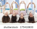 teenagers making hearth shape... | Shutterstock . vector #175410833