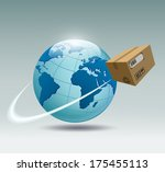 planet earth and a cardboard... | Shutterstock .eps vector #175455113