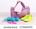 sports bag with sports... | Shutterstock . vector #175464593