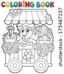 coloring book flower shop theme ... | Shutterstock .eps vector #175487237