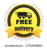 free delivery ecommerce badge   Shutterstock .eps vector #175494803
