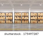 3d rendered warehouse with many ... | Shutterstock . vector #175497287