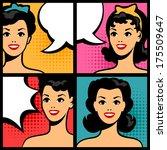 illustration of retro girls in... | Shutterstock .eps vector #175509647