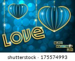blue with gold hearts on a blue ... | Shutterstock .eps vector #175574993