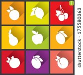 flat design icons. set of fruit....   Shutterstock .eps vector #175580363