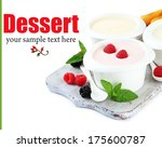 delicious yogurt with fruit and ... | Shutterstock . vector #175600787