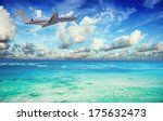 private jet over the tropical... | Shutterstock . vector #175632473