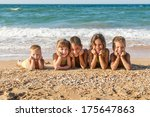 five smiling kids enjoying on... | Shutterstock . vector #175647863