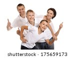 happy family on a white... | Shutterstock . vector #175659173