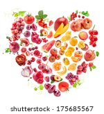 red heart of fruits and... | Shutterstock . vector #175685567