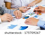 close up of human hands and... | Shutterstock . vector #175709267