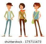 cute cartoon illustration of young people in stylish hipster clothes
