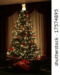 A Christmas Tree Lit Up For Th...